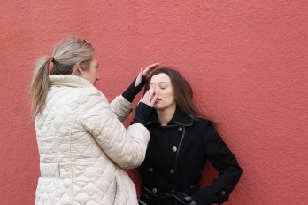 """Director Steph Greegor working with actress Dianna Craig on the photo shoot for """"Nellie"""""""