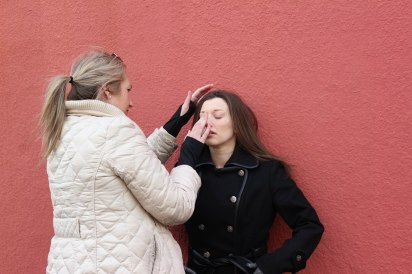 "Director Steph Greegor working with actress Dianna Craig on the photo shoot for ""Nellie"""